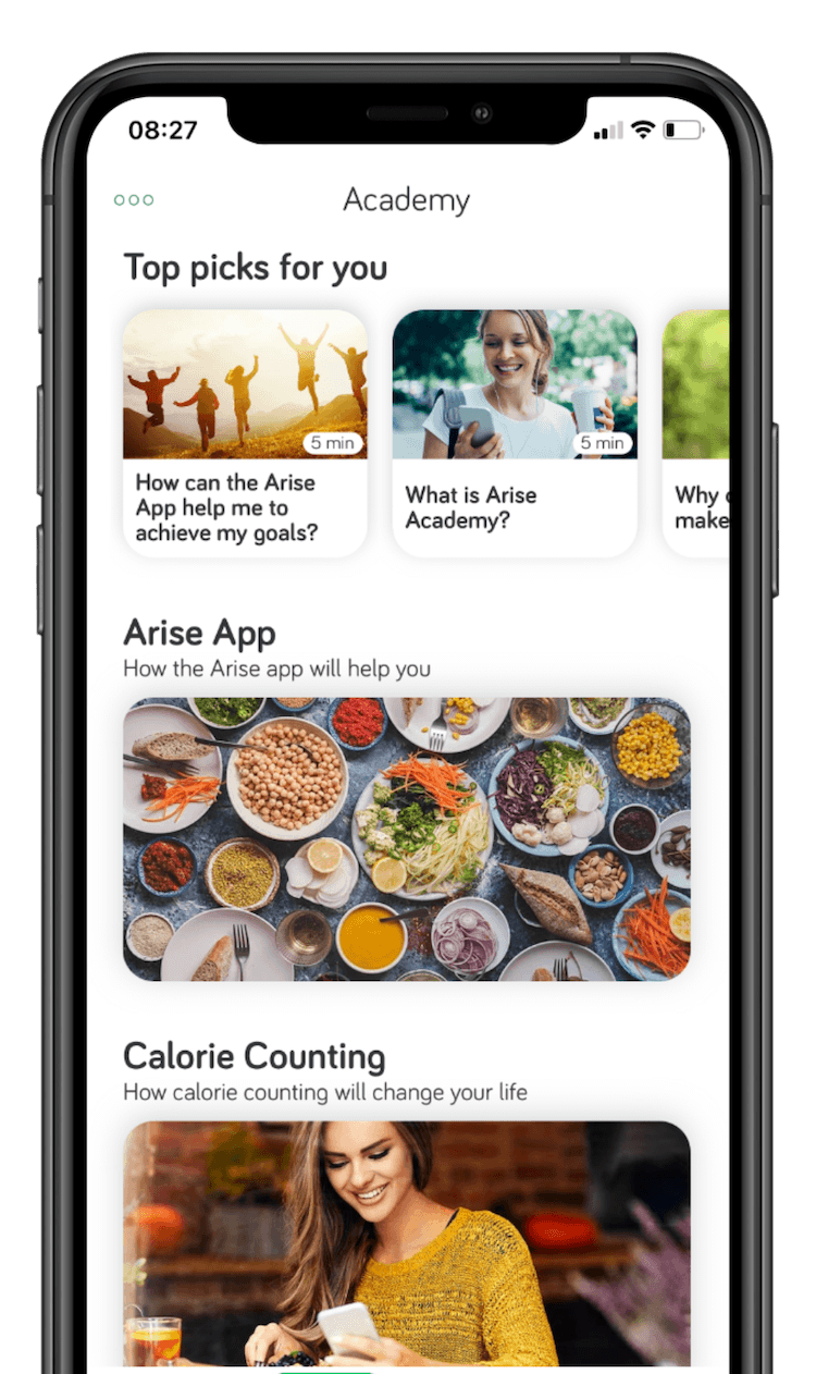 Arise App Food Tracker Adding Meals